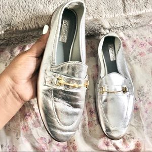 Topshop silver loafers size 6